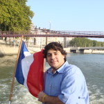 Student on the boat with French flag